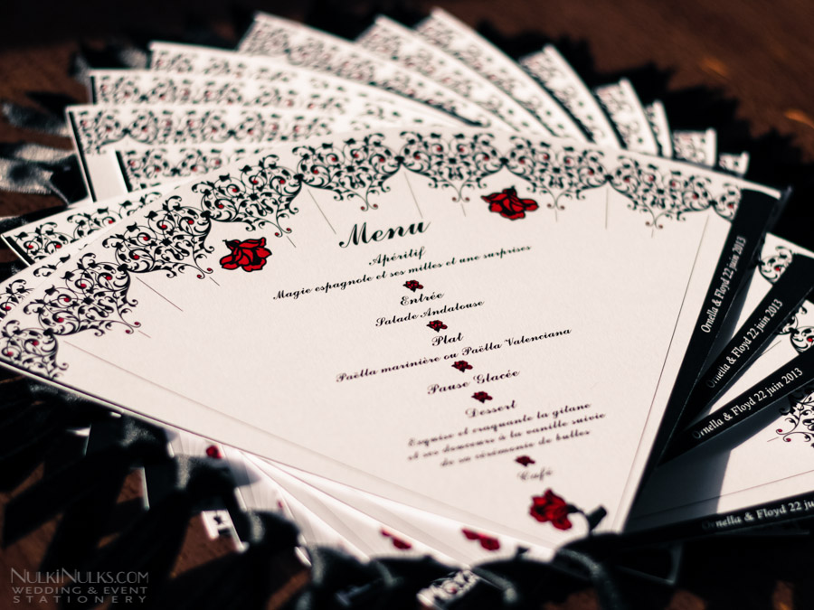 spanish fans wedding theme real weddings stationery by. Black Bedroom Furniture Sets. Home Design Ideas
