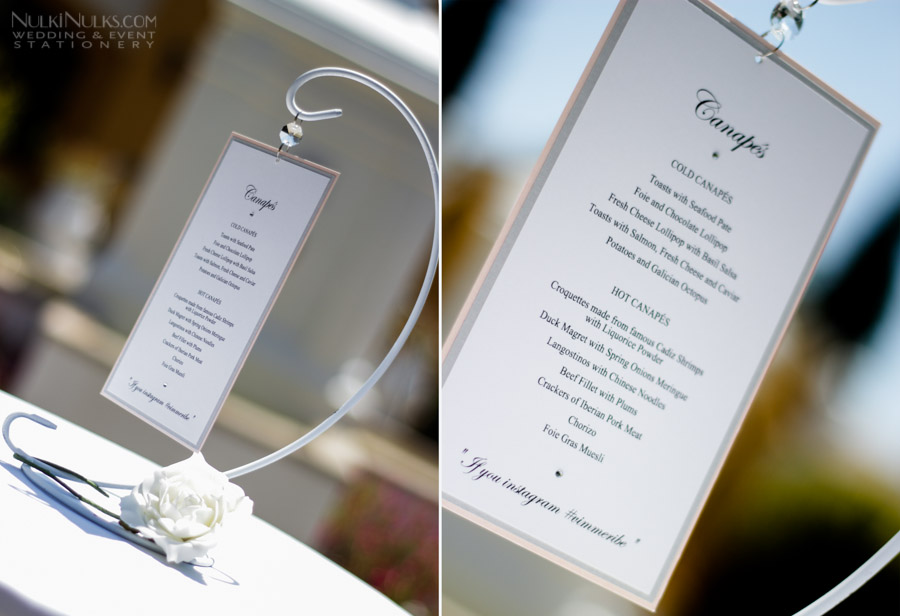 Bespoke flower stationery suite real weddings stationery for Wedding canape menu