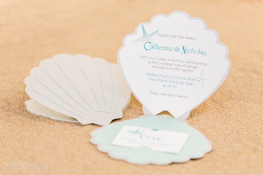 sea shell-themed wedding invitations and accessories | real, Wedding invitations