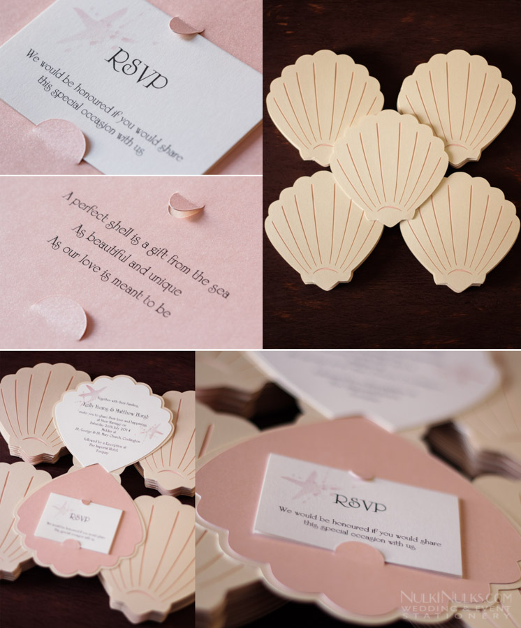 Sea Shellthemed Wedding Invitations and Accessories Real Weddings