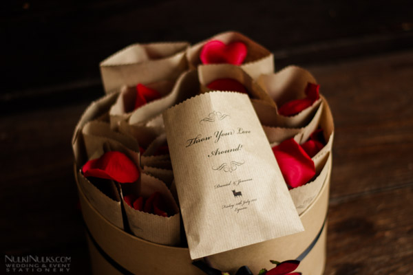 Flamenco-styled Wedding Stationery with rose petals