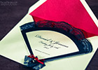 Fan-shaped Wedding Invitation in Flamenco style with envelope