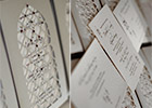 Moroccan Wedding Invitation Suite - cutout design in silver with RSVP and Information card