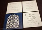 Moroccan Wedding Invitation Suite - cutout design in blue with RSVP and Information card