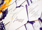 Spanish Fans Wedding Theme - Table Plan and Menu in yellow and purple
