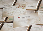 Vintage-look Wedding Invitation with map and information
