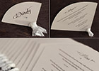 Fan-shaped Wedding Menus and Place Cards