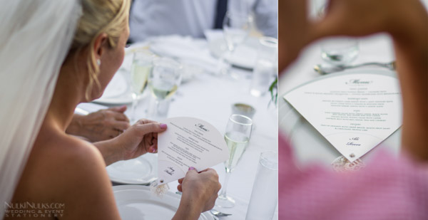 Bride holding a fan-shaped Wedding Stationery Menu