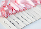 Wedding Name Cards with pink ribbon