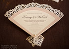 Fan-shaped Wedding Invitation with coloured cut-out border