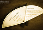 Wedding Invitation Fan completed with Black Organza Trim