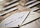 Wedding Invitation Fans having a cut-out Border and Lace