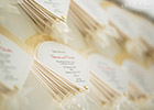Wedding Invitation Fans finished with Ivory Organza Trim