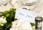 White and Green Wedding Theme: Table Name
